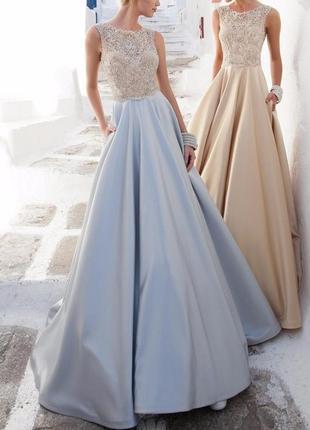Красивое вечернее длинное платье на свадьбу, выпускной из гипюра и атласа dl-590