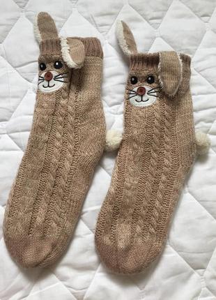 Носки на єко овчине с тормозами, очень теплые и мягкие тапочки для сна и дома зайки