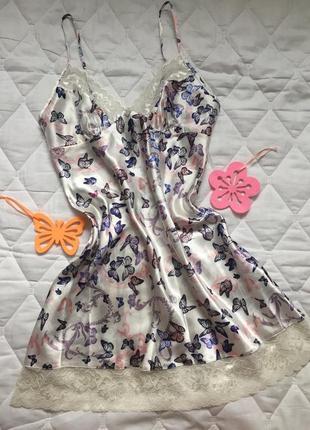 Красивый пеньюар кружево s\м ночная рубашка неглиже бабочки