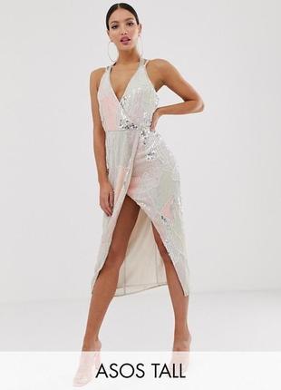 Платье миди с отделкой искусственным жемчугом и пайетками asos design