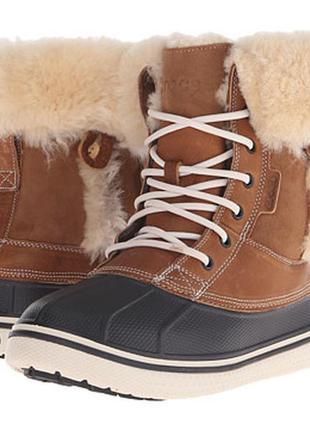 Зимние ботинки сапоги crocs luxe duck