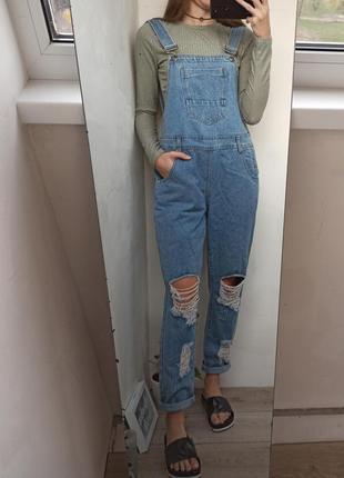 Очень крутой джинсовый комбинезон