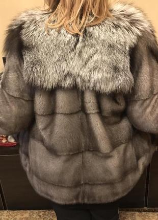 Saga furs, полушубок из серебристой норки с шалевым воротом из финской чернобурки