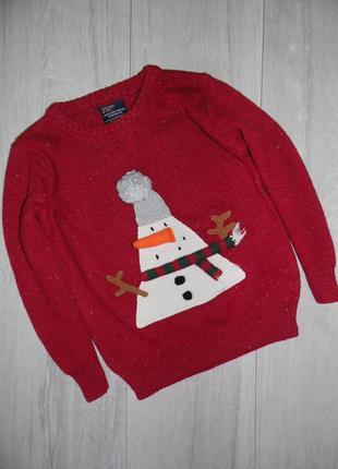 Новогодний свитер со снеговиком next на 3-4 года.