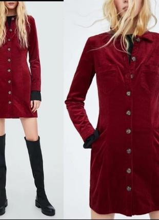 Платье рубашка zara зара демисезонное зимнее замшевое замша бордовое марсала mango hm h&m