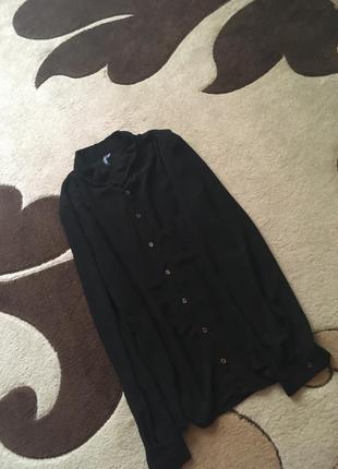 Чёрная, шифоновая рубашка(блузка)