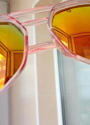 Зеркальные солнцезащитные очки с розовой полупрозрачной оправой, многоугольные авиаторы