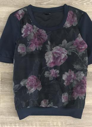 Гарна блуза з органзою (не просвітлюється, є підкладка) від vila clothes
