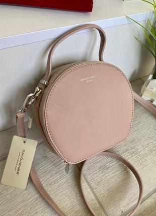 Женская сумка кругляшка david jones mini (пудра-бежевый)