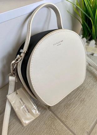 Женская сумка кругляшка david jones mini (черно-белый)