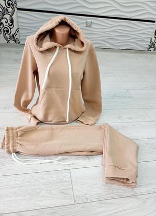 Женский спортивный костюм 💖качество топ бежевый  ткань : трехнитка , флис, начес.