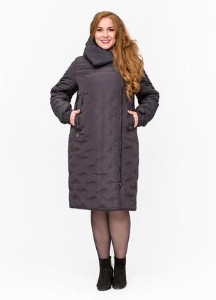Скидка модная куртка одеяло больших размеров бежевая, серая батал