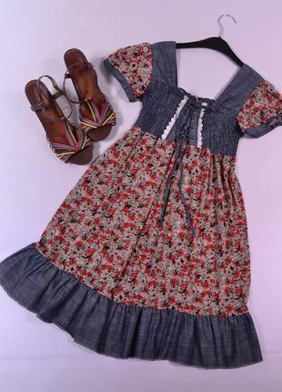Милое комбинированное платье