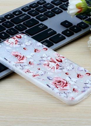 Силиконовый чехол для xiaomi redmi note 8 - red flowers