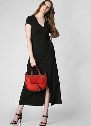Структурное макси платье, черное платье в пол vero moda