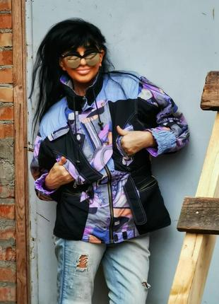 Куртка винтажная демисезонная зимняя на синтепоне ветровка в ретро спортивный стиле принт
