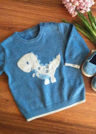 Классный хлопковый свитер,реглан с драконом george 3-6 месяцев.