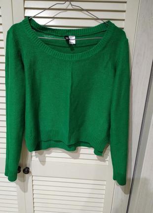 Укороченный свитер срочного зелёного цвета