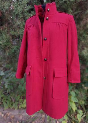 Пальто новое красно-винного цвета прямого кроя кокон тёплое wardrobe плиссе женсвенное
