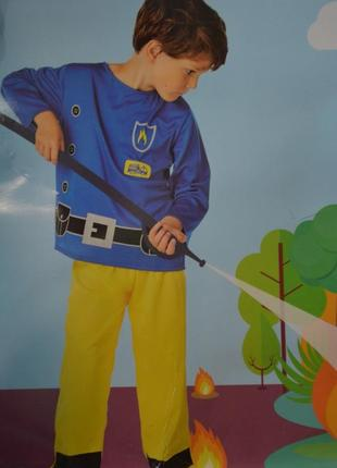 Костюм детский карнавальный пожарник размер 110-122
