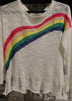 Молодежный радужный свитер