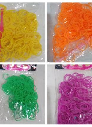 Резинки для плетения браслетов, однотонные