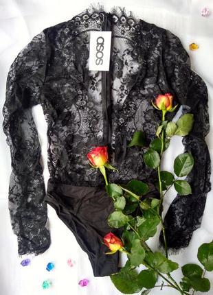 Кружевной черный боди asos с длинным рукавом