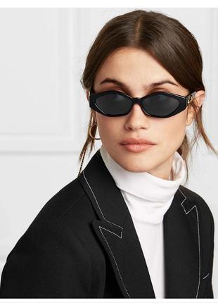 Качественные имиджевые очки ретро винтаж черные солнцезащитные тренд окуляри