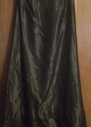 Длинная вечерняя юбка бронзового оттенка