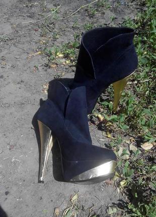 Брендовые ботильоны сапожки ботинки дешево натур замш цена снижена