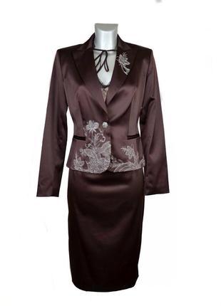 Женский атласный костюм тройка с вышивкой nelva. код п39574.