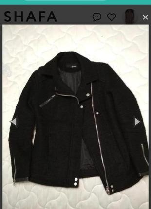 Шерстяное полупальто косуха авиатор куртка демисезонная