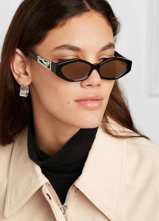 Качественные очки имиджевые черные коричневые ретро винтажные солнцезащитные окуляри