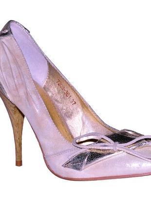 Туфли кожа натуральная с лазерным напылением золотисто-серебряные.zallni.