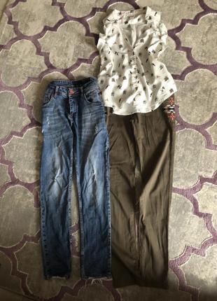 Пакет вещей джинсы штаны цвета хаки с вышивкой mango