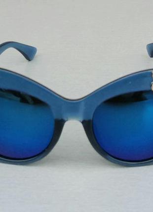 Очки женские солнцезащитные подиумные большие массивные синие с камнями2 фото