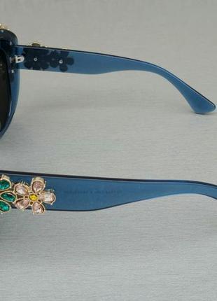 Очки женские солнцезащитные подиумные большие массивные синие с камнями4 фото