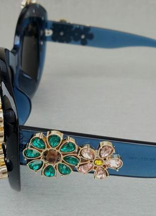 Очки женские солнцезащитные подиумные большие массивные синие с камнями5 фото