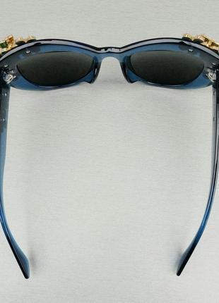 Очки женские солнцезащитные подиумные большие массивные синие с камнями7 фото