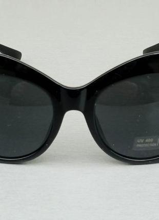 Очки женские солнцезащитные подиумные с цветами в камнях черные большие2 фото