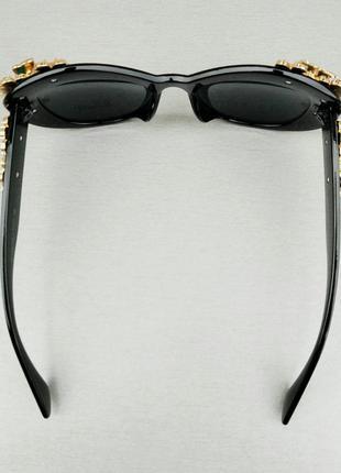 Очки женские солнцезащитные подиумные с цветами в камнях черные большие7 фото