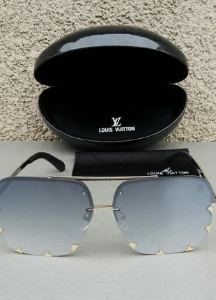 Louis vuitton очки женские солнцезащитные в серебристой  оправе серый металлик