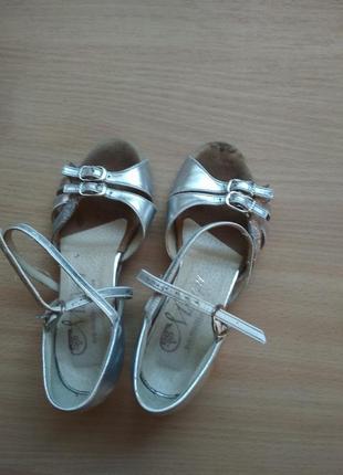 Туфли для бальных танцев, кожа, цвет серебро, 17.5см