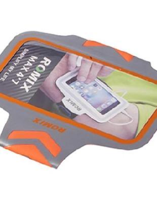Ультратонкий отражающий наручный чехол с сенсорным экраном  romix оранжевый