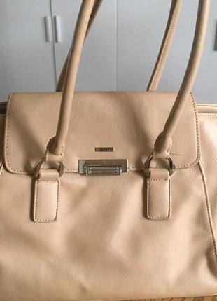 Базовая бежевая сумка из натуральной кожи wellfare