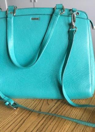 Бирюзовая структурированная сумка-портфель wellfare, натуральная кожа