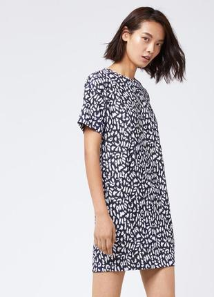 Принтованное трикотажное платье с карманами