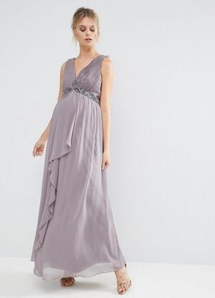 Серое платье в пол для беременных