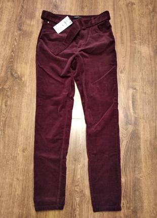 Штаны брюки reserved р.38 вельветовые с поясом высокая посадка