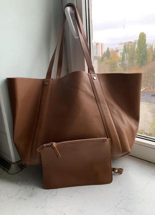 Вместительная сумка шопер zara в наборе с кошельком